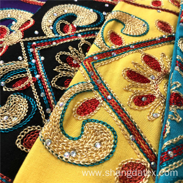 Golden Thread Chain Embroidery On Rayon Solid Fabric